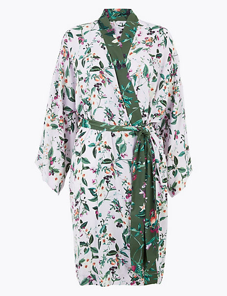 Satin Floral Wrap Short Dressing Gown