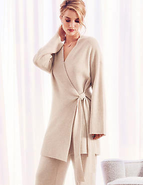 Pure Cashmere Textured Wrap Dressing Gown