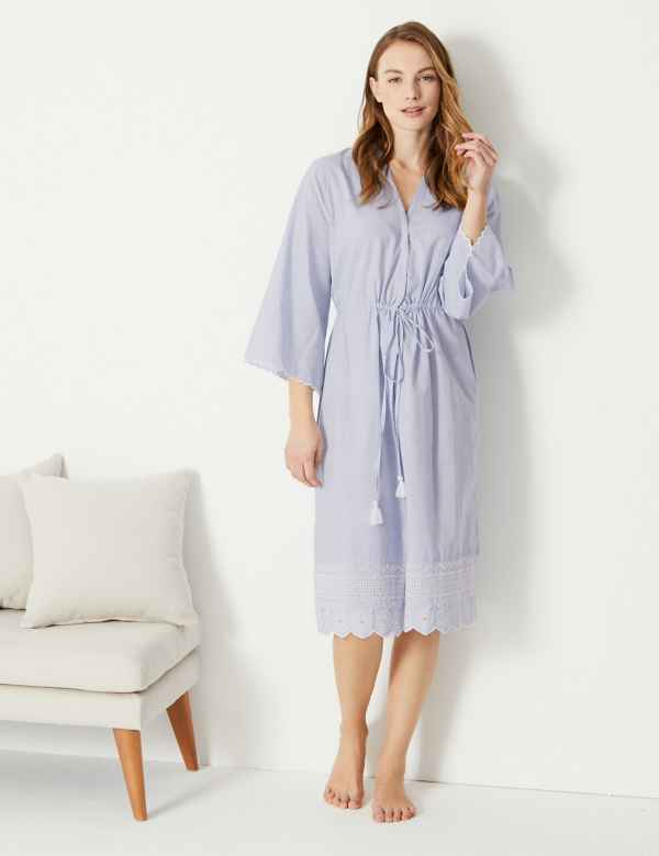 246e28e80 Pure Cotton Broderie Dressing Gown