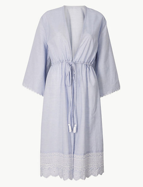 Pure Cotton Broderie Dressing Gown