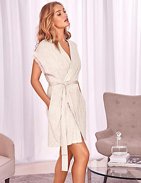 Tie Front Wrap Dressing Gown, OATMEAL, catlanding