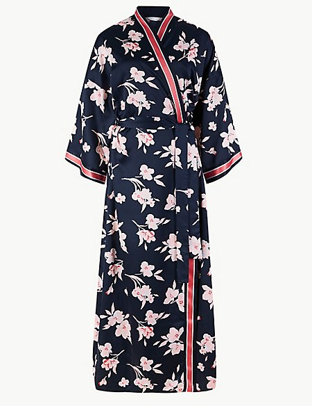 Satin Floral Print Dressing Gown