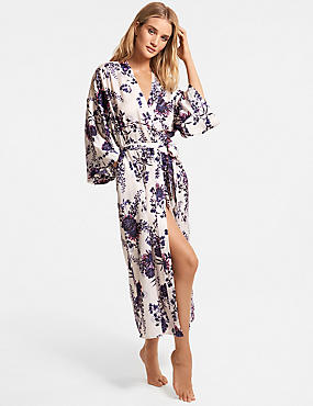 Satin Floral Print Wide Sleeve Wrap Dressing Gown ... 145a9b134