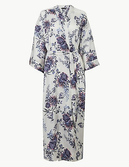 Satin Floral Print Wide Sleeve Wrap Dressing Gown