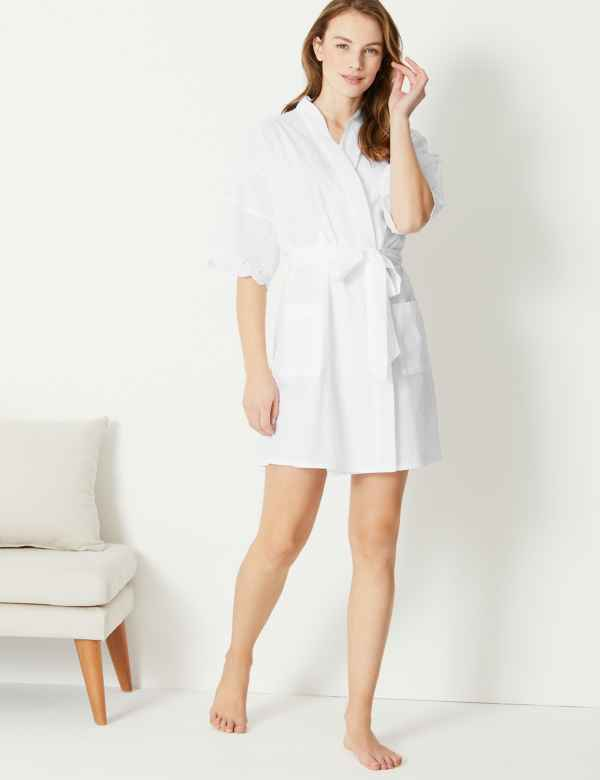0c9a362588 Pure Cotton Broderie Dressing Gown