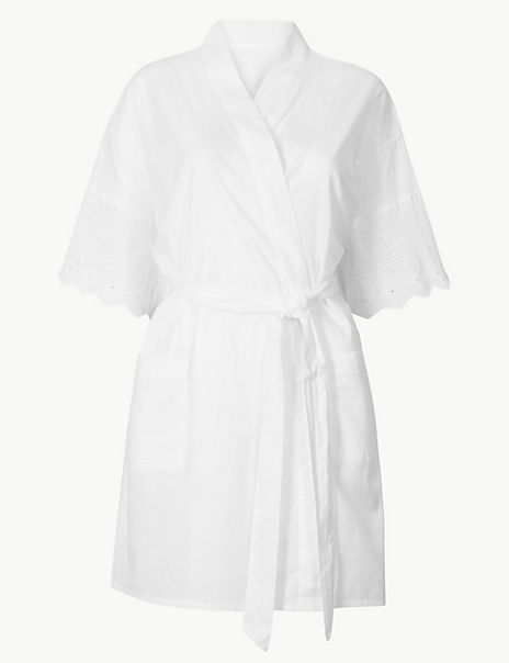 Pure Cotton Broderie Short Dressing Gown