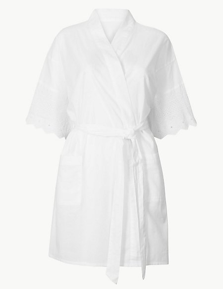Pure Cotton Broderie Sleeve Wrap Dressing Gown