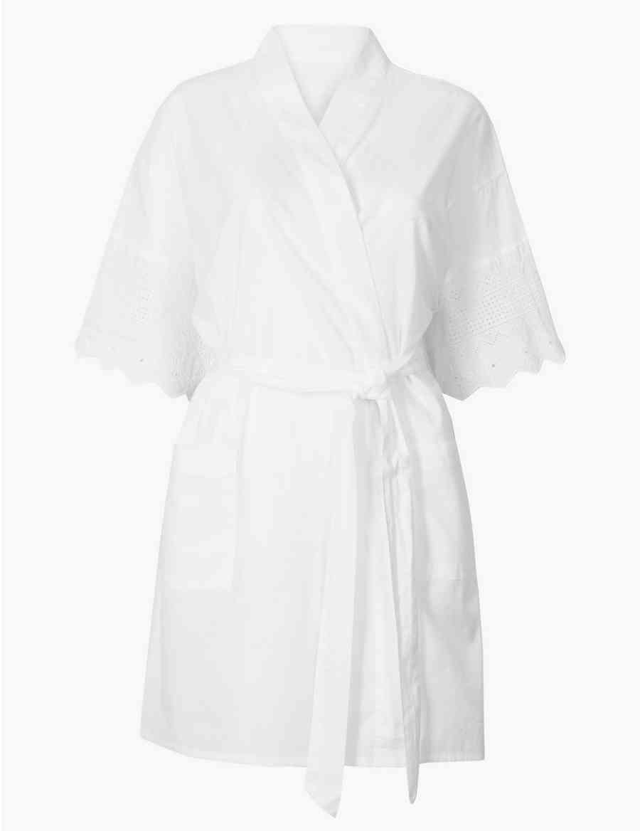 5f32eca22f Pure Cotton Broderie Sleeve Wrap Dressing Gown