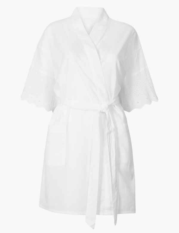 b2e30abad5 Pure Cotton Broderie Dressing Gown. M S Collection
