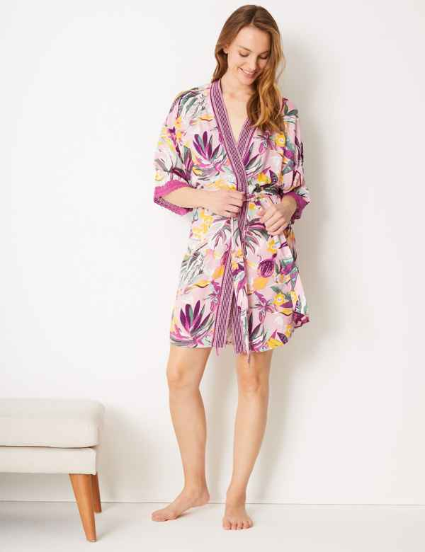 7269828a9 Tropical Wrap Short Dressing Gown