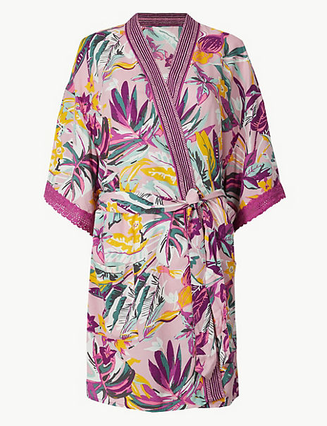 Tropical Wrap Short Dressing Gown