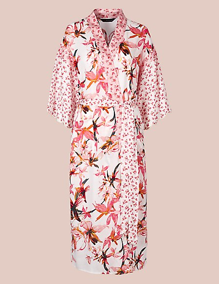 Pure Modal Floral Wrap Dressing Gown | Rosie for Autograph | M&S
