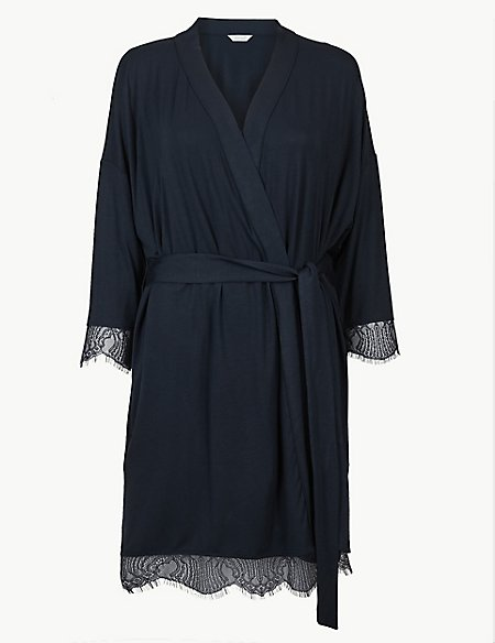 Lace Trim Long Sleeve Short Dressing Gown
