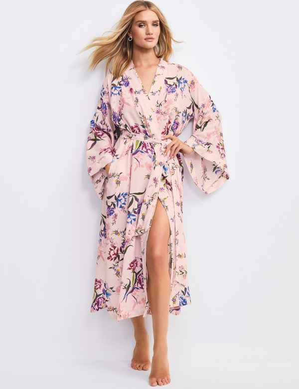 7c0fbdf1825 Pure Modal Floral Warp Long Dressing Gown