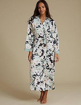 Floral Print Wrap Dressing Gown, CHARCOAL MIX, catlanding