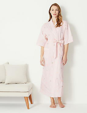 Pure Cotton Butterfly Embroidered Wrap Dressing Gown ... 513328076