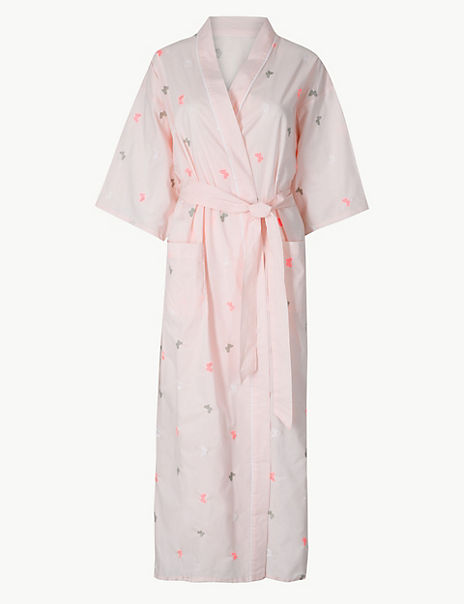 Pure Cotton Butterfly Dressing Gown