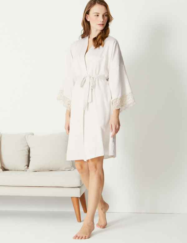 Bridal Satin Short Dressing Gown 2fa6b520e