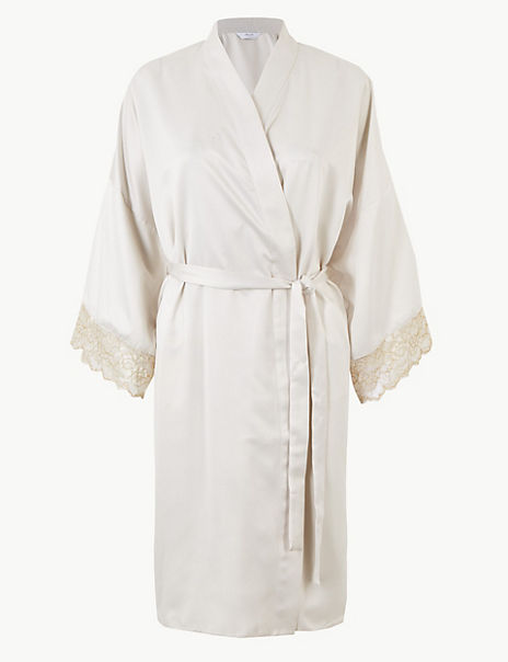 Bridal Satin Short Dressing Gown