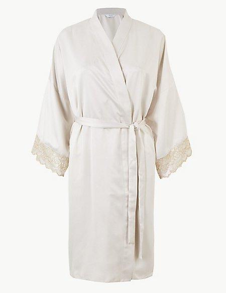 Bridal Satin Wrap Short Dressing Gown