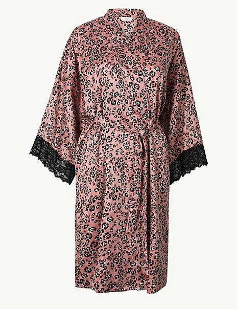 Satin Animal Short Dressing Gown