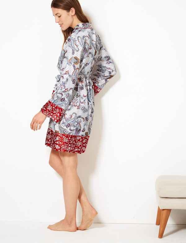 b4d9dfdb5e Satin Paisley Print Wrap Dressing Gown
