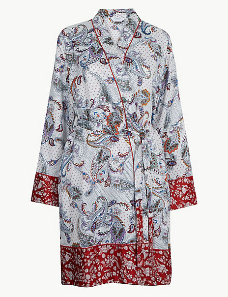Satin Paisley Print Wrap Dressing Gown