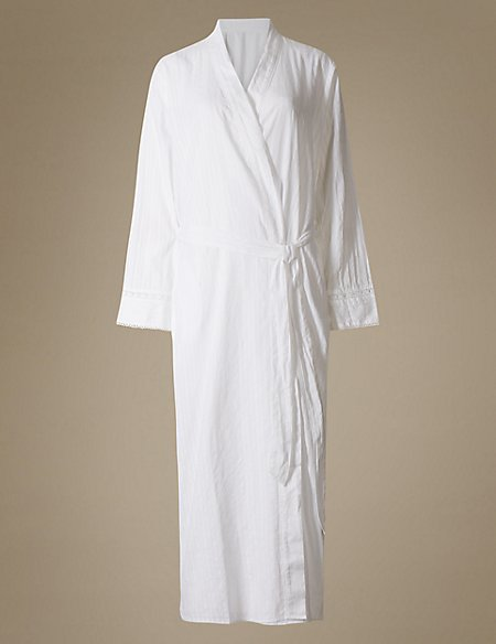 Pure Cotton Embroidered Dressing Gown | M&S Collection | M&S