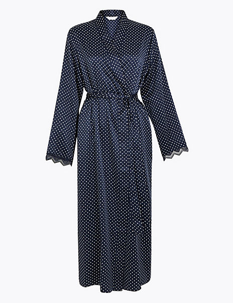 Satin Polka Dot Wrap Dressing Gown