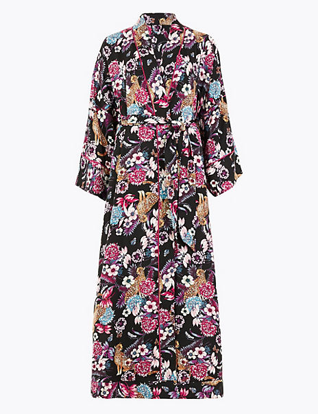 Satin Floral Long Dressing Gown