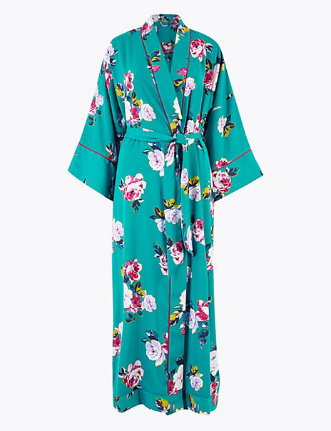 Satin Floral Print Long Dressing Gown