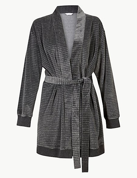 Striped Long Sleeve Dressing Gown