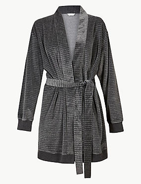 Striped Long Sleeve Dressing Gown, CHARCOAL MIX, catlanding