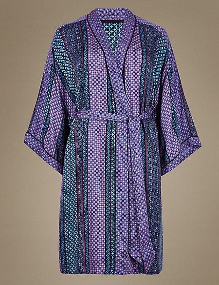Mosaic Print Short Wrap Dressing Gown