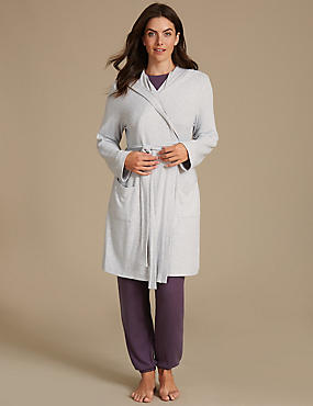 Hooded Knit Dressing Gown, GREY MIX, catlanding