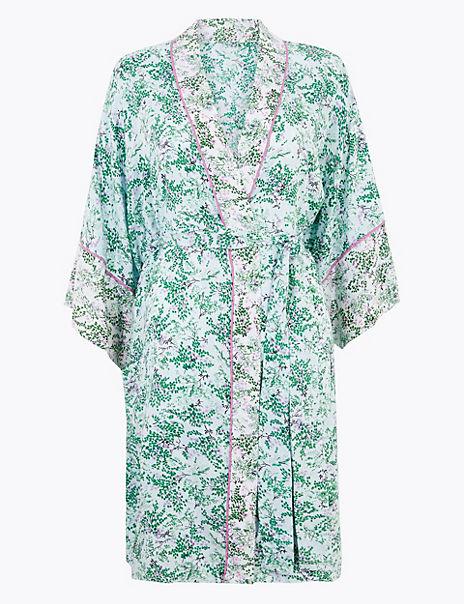 Floral Short Wrap Dressing Gown