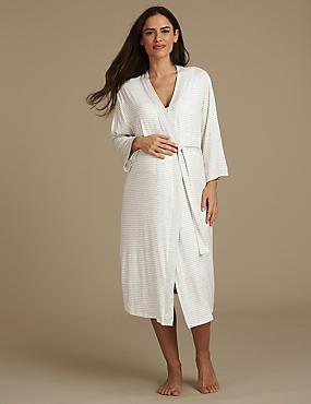 Maternity Wrap Dressing Gown, GREY MIX, catlanding