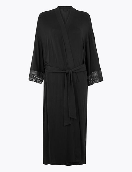 Sumptuously Soft™ Lace Trim Dressing Gown