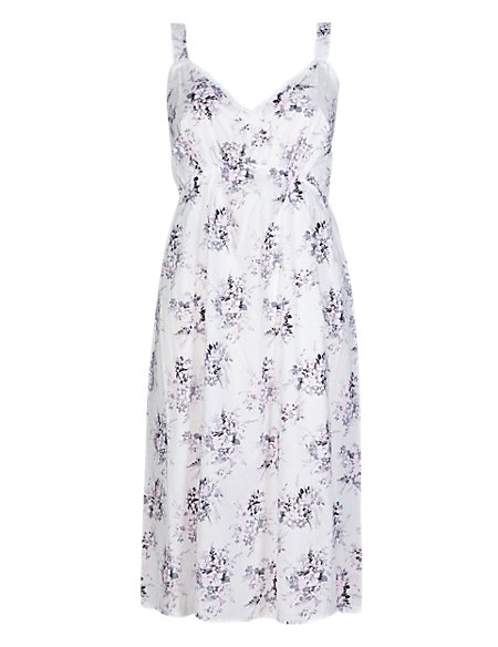 Pure Cotton Dobby Floral Chemise with Cool Comfort™ Technology