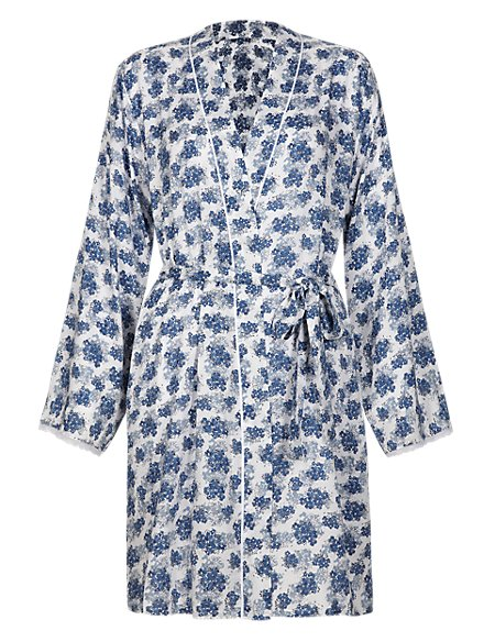 Pure Modal Floral Wrap Dressing Gown