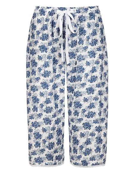 Pure Modal Floral Cropped Pyjama Bottoms