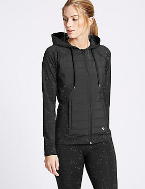 Reflective Print Padded Hooded Top