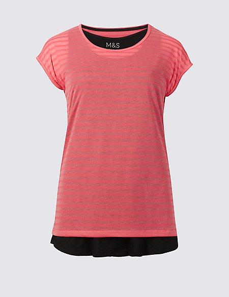 Stripe Double layer Short Sleeve Sport Top