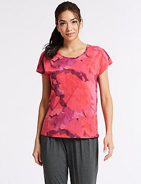 Printed Burnout Short Sleeve Sport T-Shirt , PINK MIX, catlanding