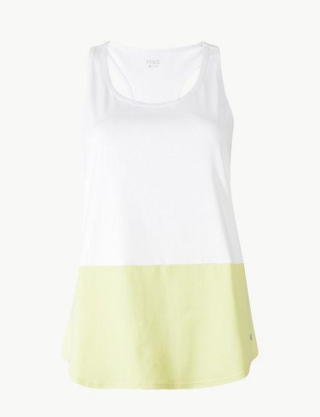 Colour Block Loose Sleeveless Vest Top