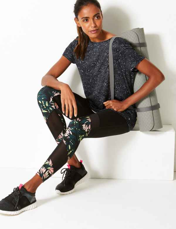 48e870fd36 Mesh & Print Panelled Leggings
