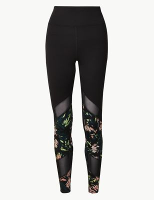 Mesh &Amp; Print Panelled Leggings by Marks & Spencer