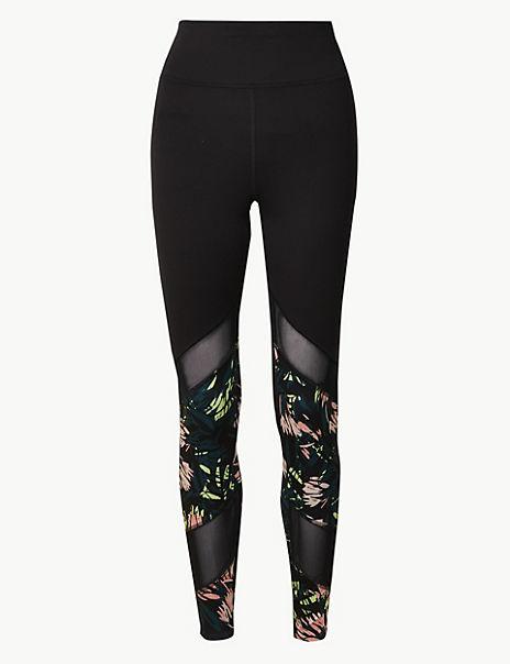 Mesh & Print Panelled Leggings