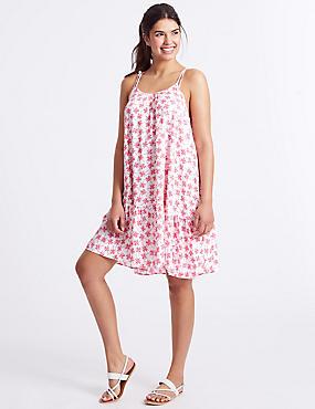 Palm Print Woven Flippy Beach Dress
