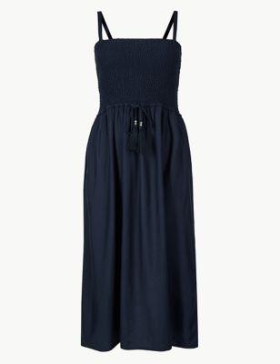 Shirred Midi Beach Dress by Marks & Spencer